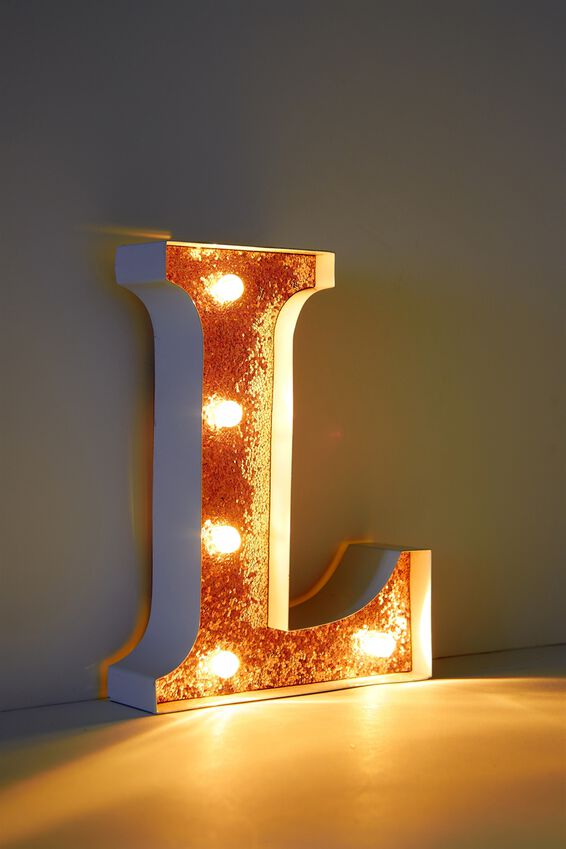 Marquee Letter Lights Premium 16cm Midi, WHITE WITH ROSE GOLD L