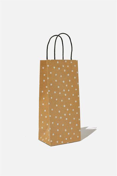 Bottle Gift Bag, KRAFT WHITE SPOT