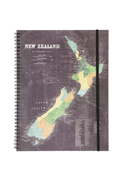 Stationery office supplies pens more cotton on a4 spinout notebook 120 pages nz map gumiabroncs Gallery