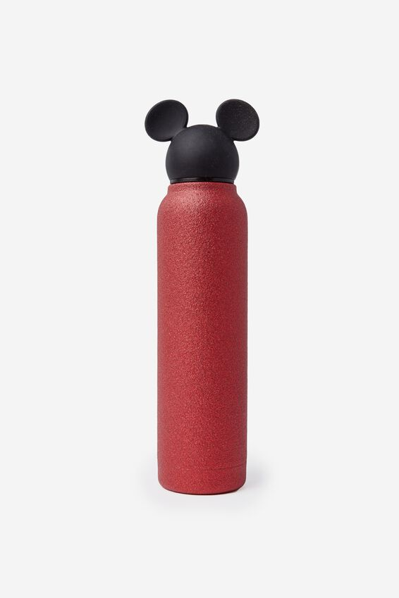 Premium Small Metal Drink Bottle, LCN MICKEY RED GLITTER