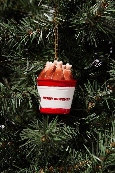 Resin Christmas Ornament, MERRY CHICKMAS BUCKET