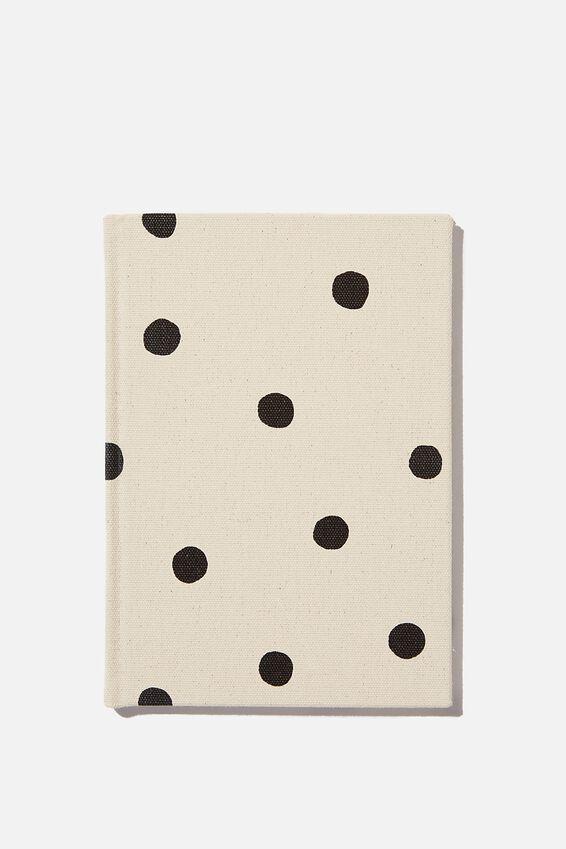A5 Dot Oxford Notebook, ECRU OVERSIZED POLKA