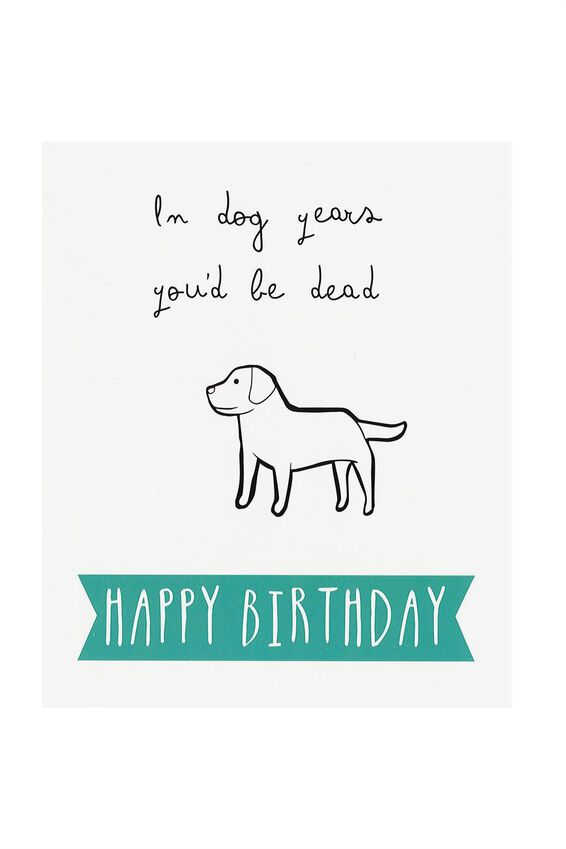 Funny Birthday Card, DOG YEARS