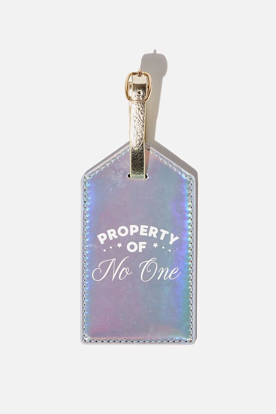Luggage Tag, PROPERTY OF NO ONE HOLOGRAPHIC