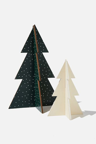 Wooden Mini Christmas Tree Pack, GREEN TRIANGLES & WHITE