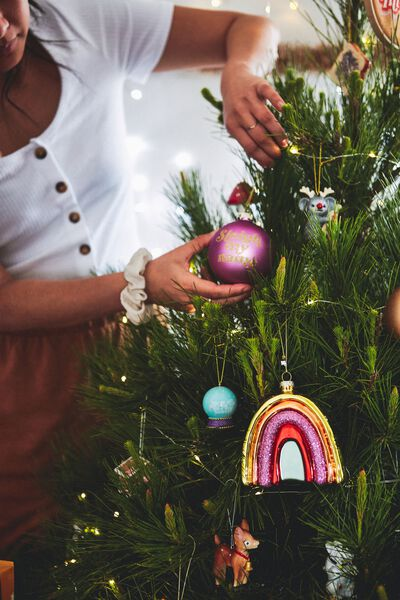 Small Glass Christmas Ornament, BAUBLE SLEIGH MY NAME