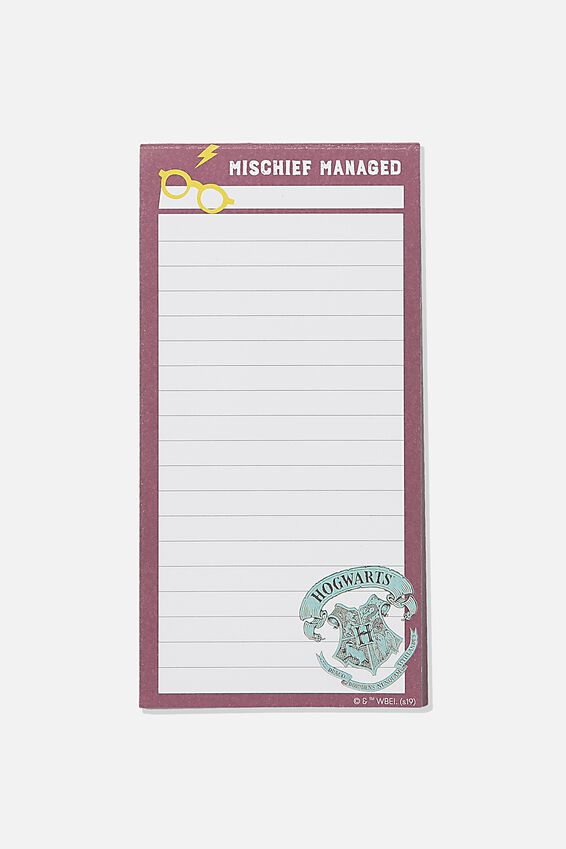 Harry Potter Make A List Note Pad, LCN WB HPO MISCHIEF MANAGED