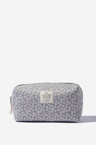 Florence Pencil Case, STAMPED DAISY GREYSCALE