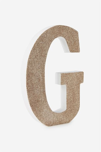 Glitter Letterpress Letter, PALE GOLD GLITTER G