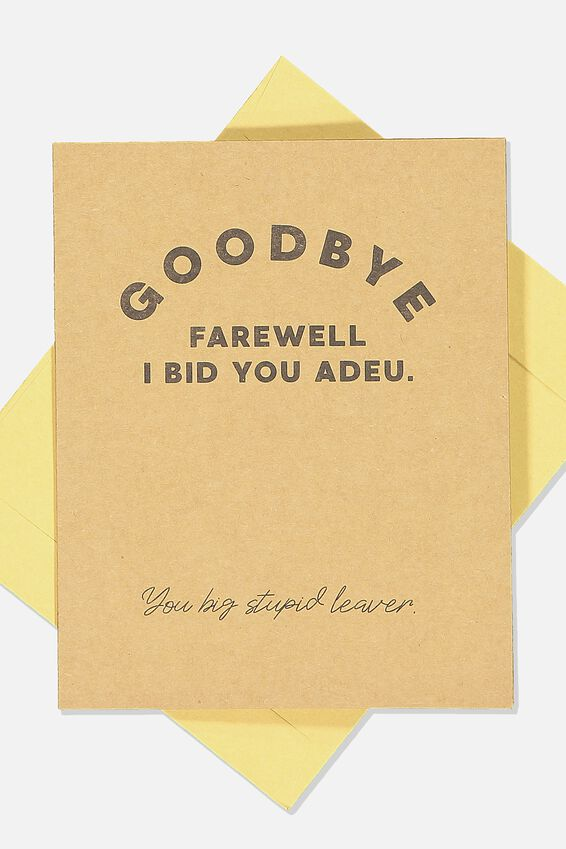 Goodbye Card Stationery Backpacks Homewares Typo