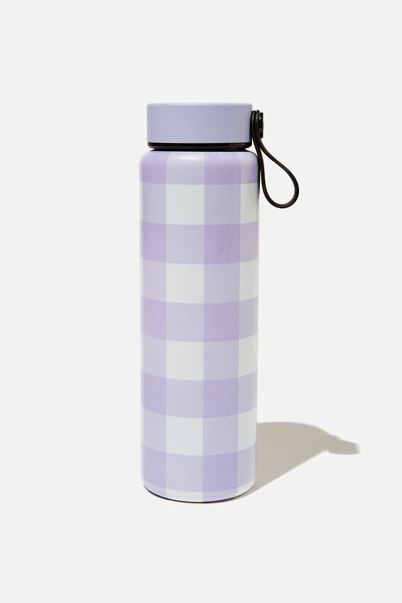 On The Move Metal Drink Bottle 500Ml, LILAC GINGHAM