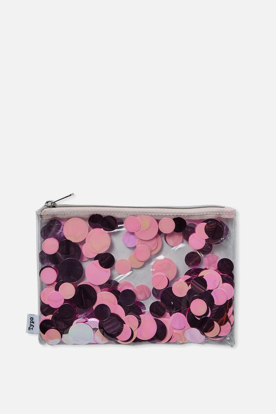 Confetti Pencil Case, BLUE PINK