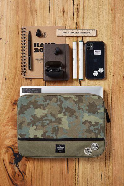 Canvas 13 Inch Laptop Case, CAMO WITH KHAKI SPLICE