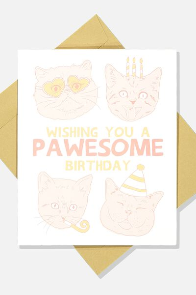 Funny Birthday Card, PAWESOME BIRTHDAY