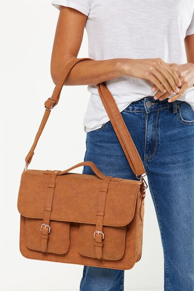 On Duty Satchel, TAN FLORAL EMBOSSED