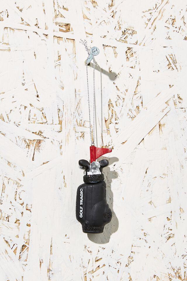 Small Glass Christmas Ornament, GOLF CLUBS
