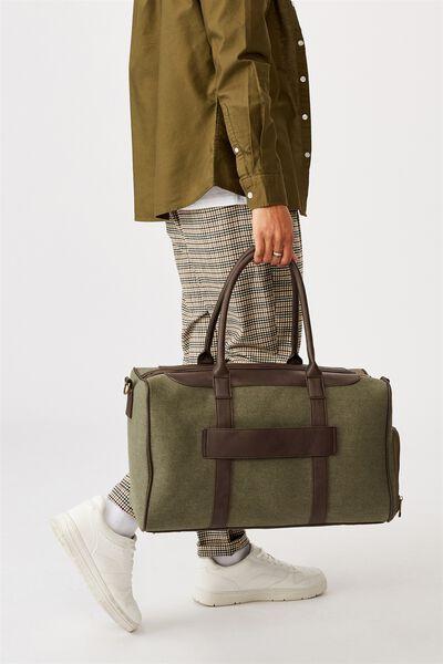 Nuevo Overnighter Bag Cvs, KHAKI AND BITTER CHOC