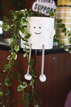 Midi Shaped Planter, WHITE SPECKLE ROPE LEGS