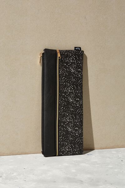 Patti Pencil Case, BLACK SPLATTER