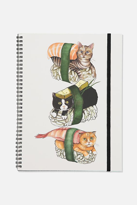 A4 Spinout Notebook Recycled, TBAR CAT SUSHI