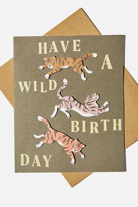 Premium Nice Birthday Card, WILD BIRTHDAY TIGERS