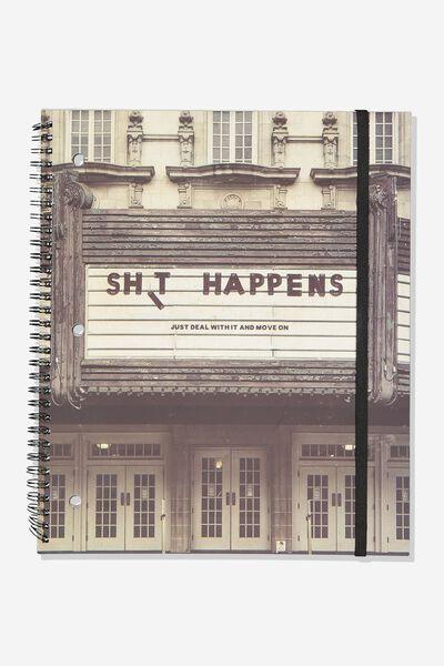 College Ruled Spinout Notebook V, SHIT HAPPENS CINEMA!