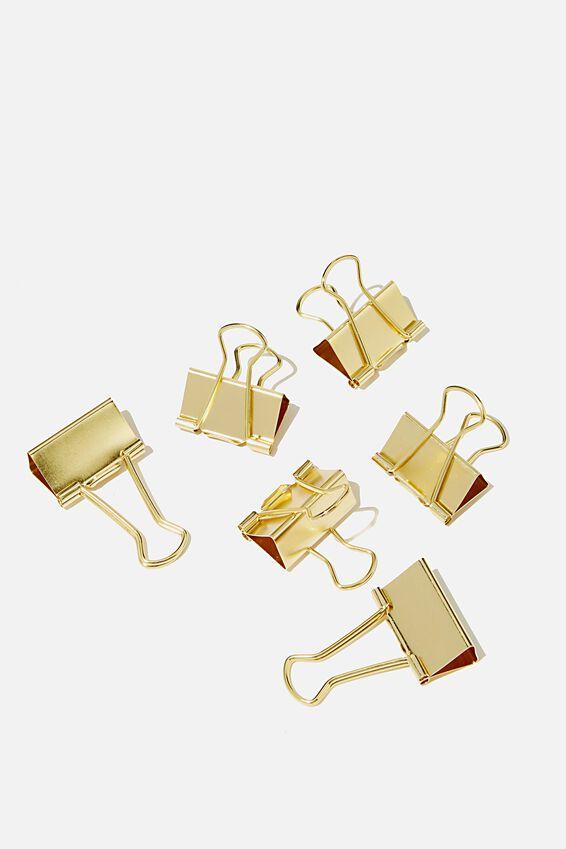 Bulldog Clip Pk 6, GOLD