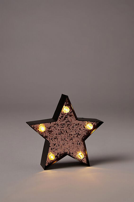 Shaped Mini Marquee Light, BLACK STAR WITH ROSE GOLD GLITTER