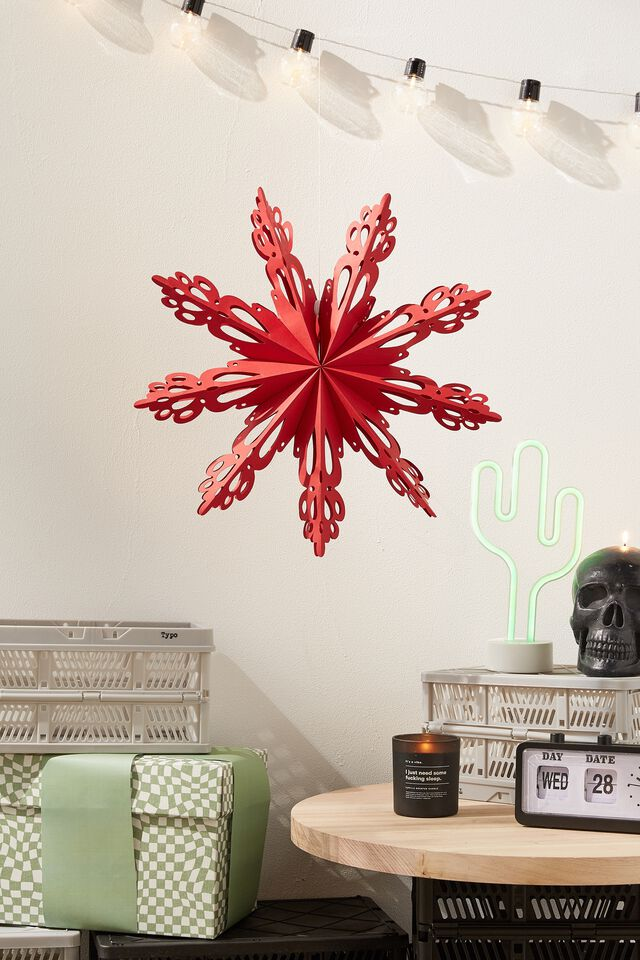 Paper Snowflake Decoration, TRUE RED