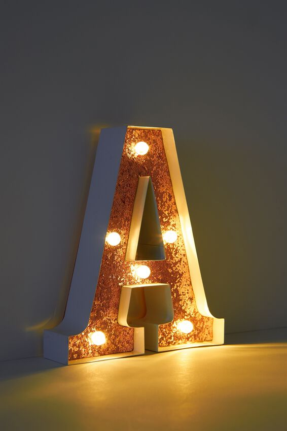 Marquee Letter Lights Premium 16cm Midi, WHITE WITH ROSE GOLD A