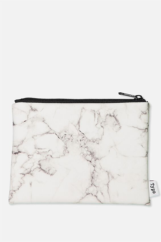 Pu Campus Pencil Case, WHITE MARBLE