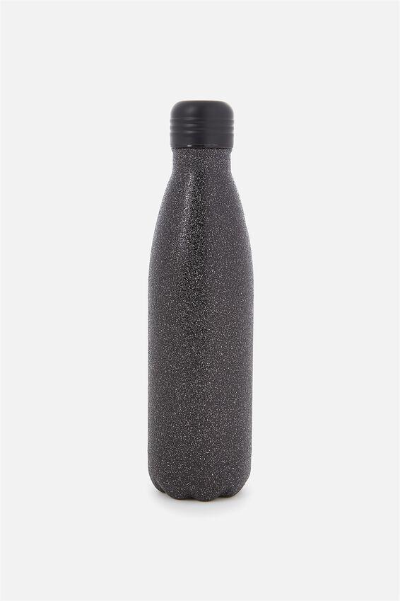 Metal Drink Bottle, BLACK GLITTER