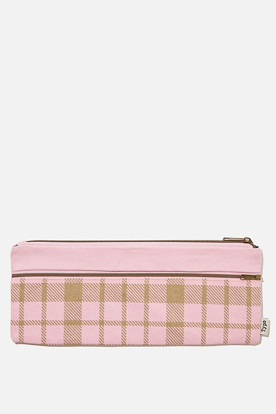 Patti Pencil Case, RETRO CHECK PLASTIC PINK