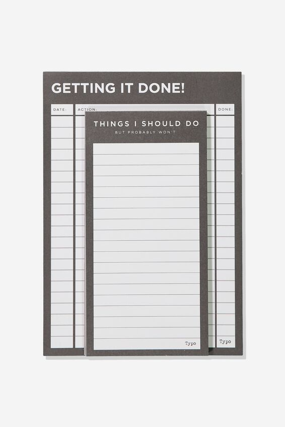 Notepad 2Pk, BLACK GETTING IT DONE
