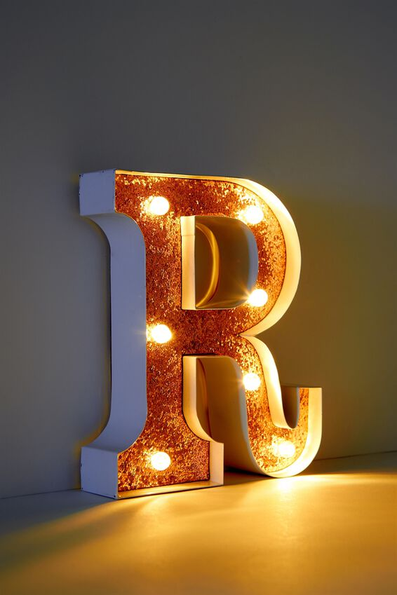 Marquee Letter Lights Premium 16cm Midi, WHITE WITH ROSE GOLD R