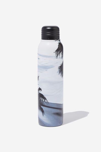 Small Metal Drink Bottle, BLACK & WHITE OCEAN SCENE