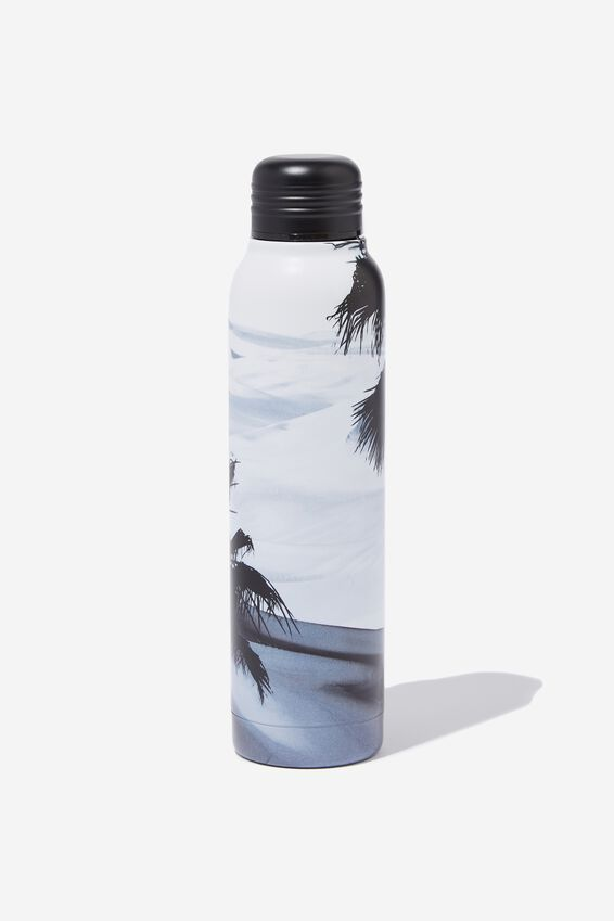 Small Metal Drink Bottle, BLACK & WHITE OCEAN SCENE