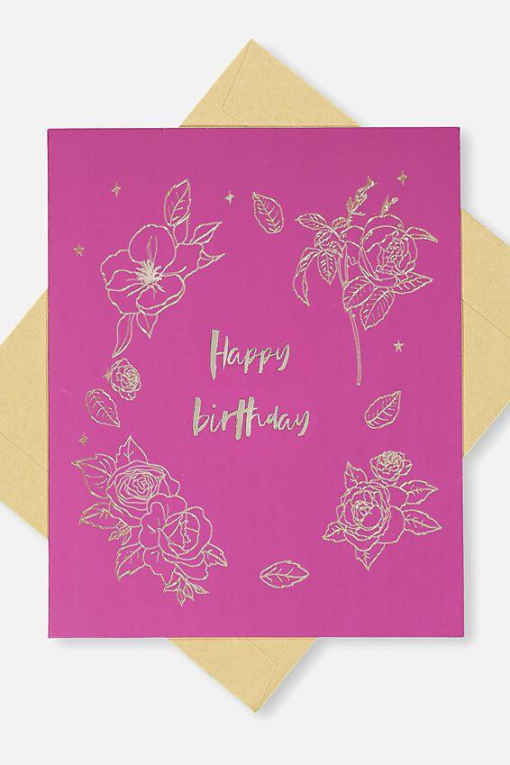 Nice Birthday Card, HAPPY BIRTHDAY FLORAL