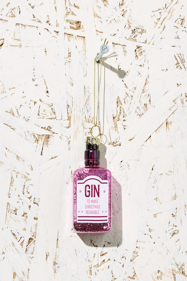 Small Glass Christmas Ornament, PINK GIN BOTTLE!