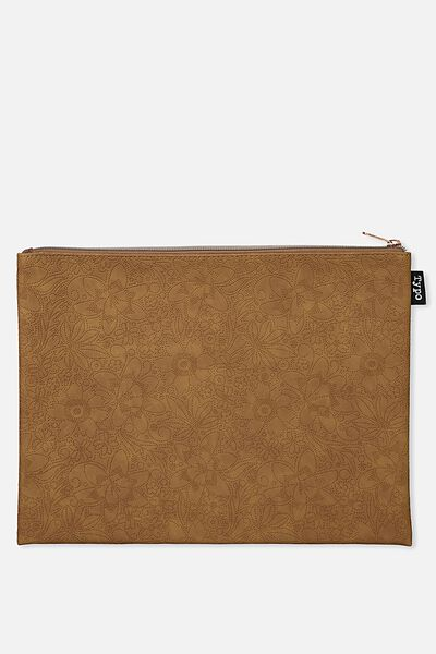 Pu Document Wallet, TOOLED FLORAL TAN