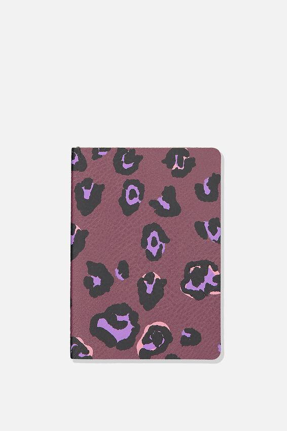 A6 Soft Cover Buffalo Journal - 176 Pages, PURPLE LEOPARD
