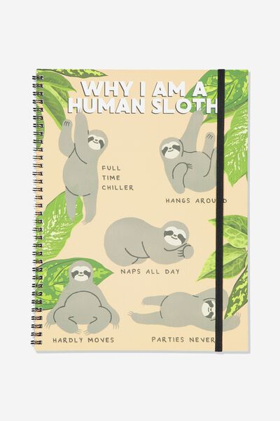 A4 Spinout Notebook Recycled, HUMAN SLOTH