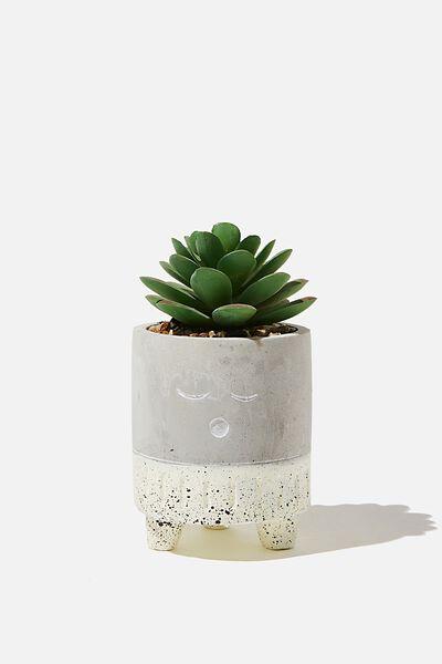 Tiny Planter With Plant, CEMENT & ECRU SLEEPY FACE