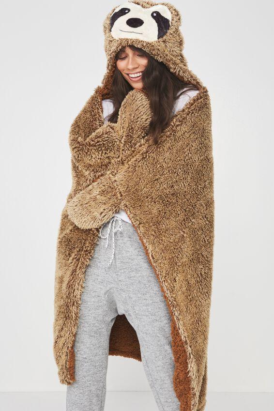 Novelty Hooded Blanket, SLOTH