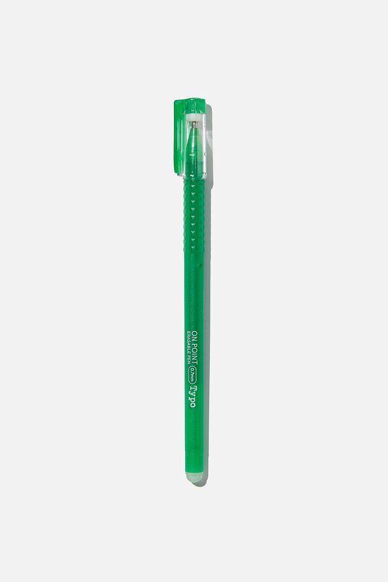 On Point Erasable Gel Pen, GREEN