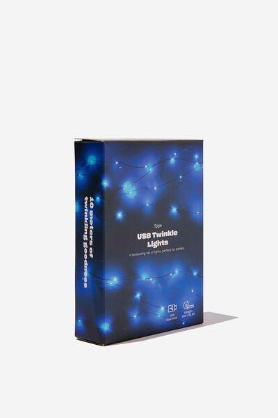 Usb 10M Twinkle Lights, BLUE
