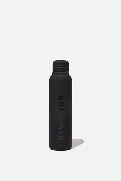 Personalised 350ml Small Metal Drink Bottle, BLACK RUBBER