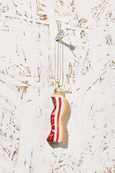 Small Glass Christmas Ornament, BACON
