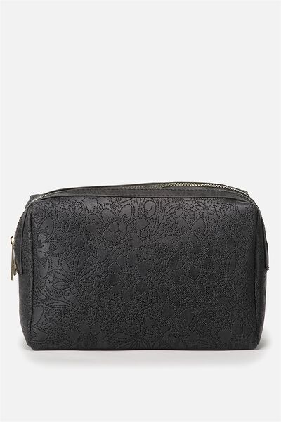 Dual Zipper Cosmetic Case, BLACK TOOLED