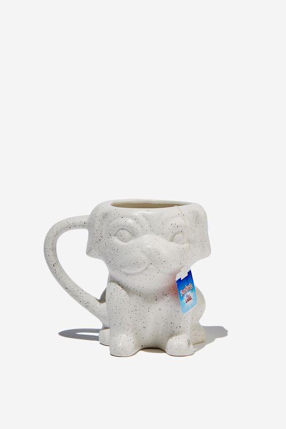Novelty Shaped Mug, WHITE SPLATTER PUG